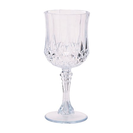 Fun Express - Plastic Clear Patterned Wine Glasses for Wedding - Party Supplies - Drinkware - Re - Usable Cups - Wedding - 12 Pieces](Plastic Cup Wine Glasses)
