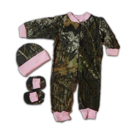 (JLCK Baby Girls Pink Camo Gift Set: Creeper Hat Booties 3PC 3-6 mo, Set includes: Girls one piece Creeper, Booties and little hat Set is neatly.., By)