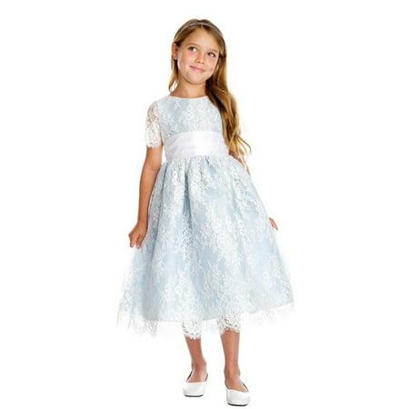 Sweet Kids Little Girls Blue French Lace Dupioni Flower Girl - Blue Flower Girls Dresses
