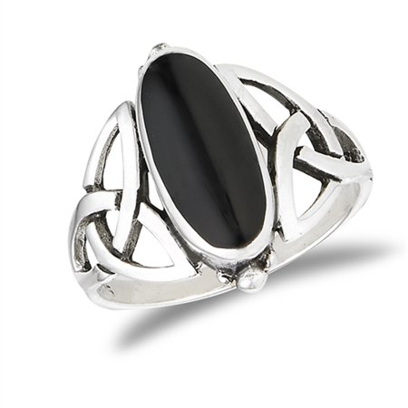 Wide Oval Simulated Black Onyx Filigree Celtic Knot Ring Sterling Silver Band Size 7