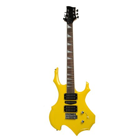 zimtown flame type electric guitar gigbag strap cord pick tremolo bar yellow color. Black Bedroom Furniture Sets. Home Design Ideas