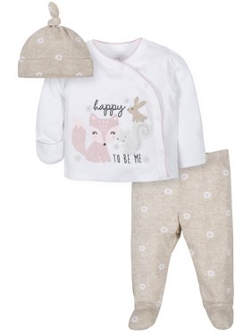 Wonder Nation Baby Girl Outfit Take Me Home Shirt, Cap & Footed Pant Outfit Set
