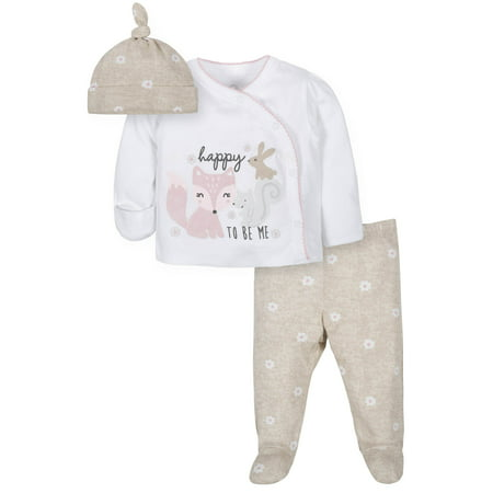Wonder Nation Take Me Home Shirt, Cap & Footed Pant Outfit Set (Baby