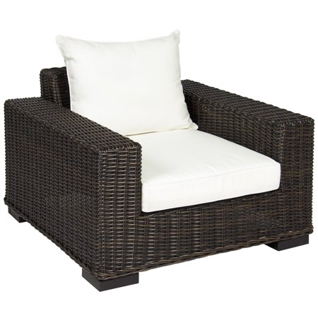 Best Choice Products Oversized Outdoor Patio Wicker Club Arm Chair W White Cushion Brown
