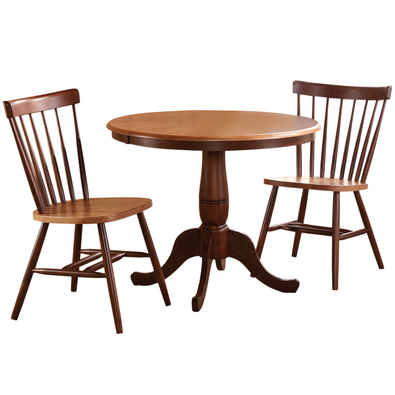 International Concepts Piperton 36 in. Round Pedestal Dining Table Set with 2 Copenhagen Chairs