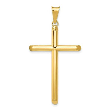 Roy Rose Jewelry 14k Yellow Gold Polished Tube Cross Pendant