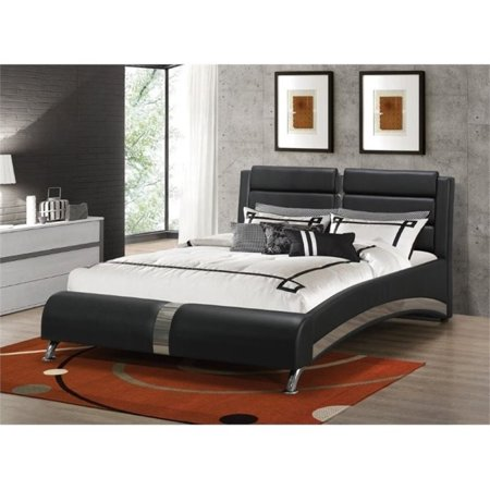 Bowery Hill Upholstered King Modern Bed in Black