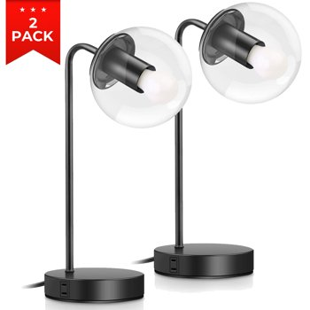 2-Pack Brightever Vintage Table Lamp with 2 USB Charging Ports