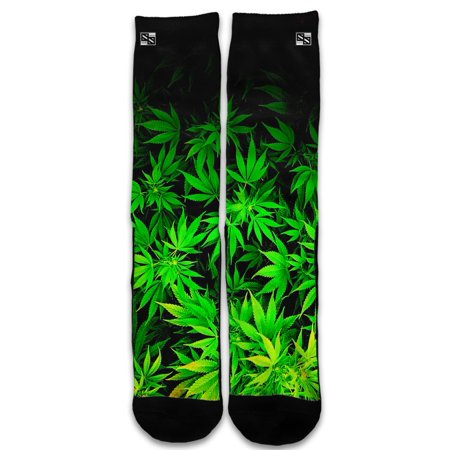 Custom Elite Style Athletic Sport Socks Crew 18 Inch / Weed Gonja (Rasta Weed Socks)