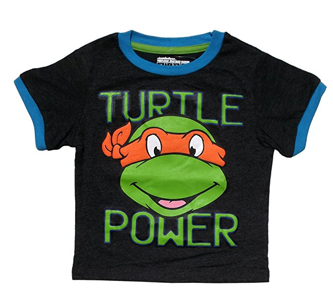 Teenage Mutant Ninja Turtles Turtle Power Puff Toddler Grey Tee (2T)