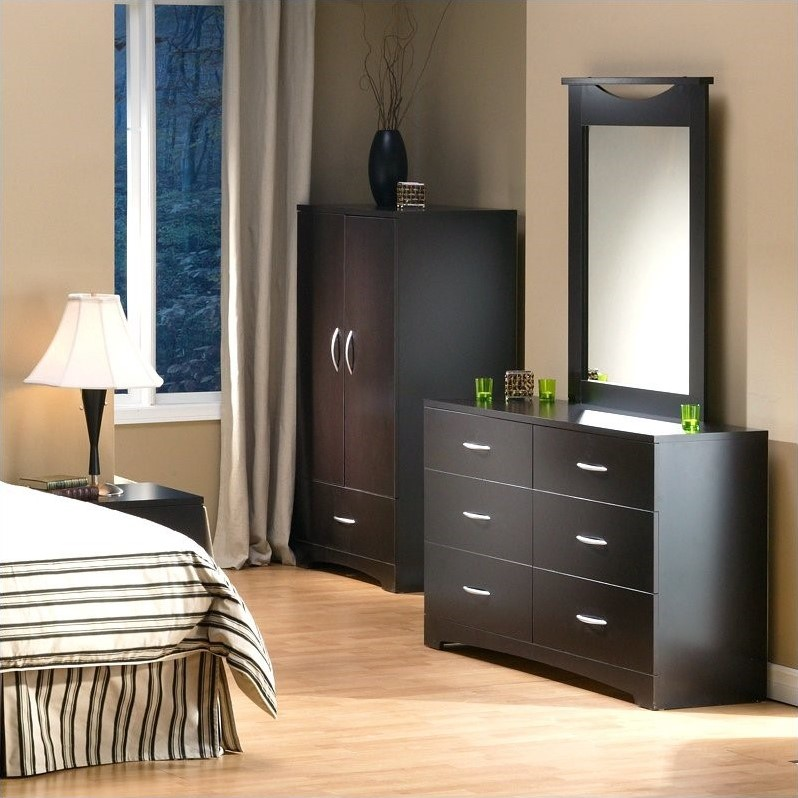South Shore Back Bay Double Dresser and Mirror Set in Dark Chocolate by South Shore