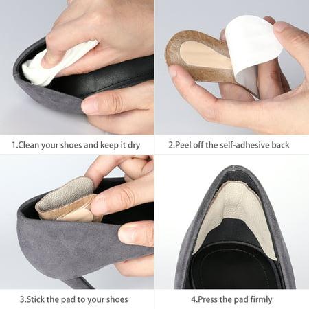 Leather Heel Cushion Heel Self-adhesive Shoe Insole Women Beige Cowhide 6 Pairs - image 4 de 5