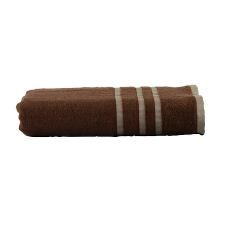 Mainstays Basic Bath Collection - Single Bath Towel, Chocolate Brown Stripe