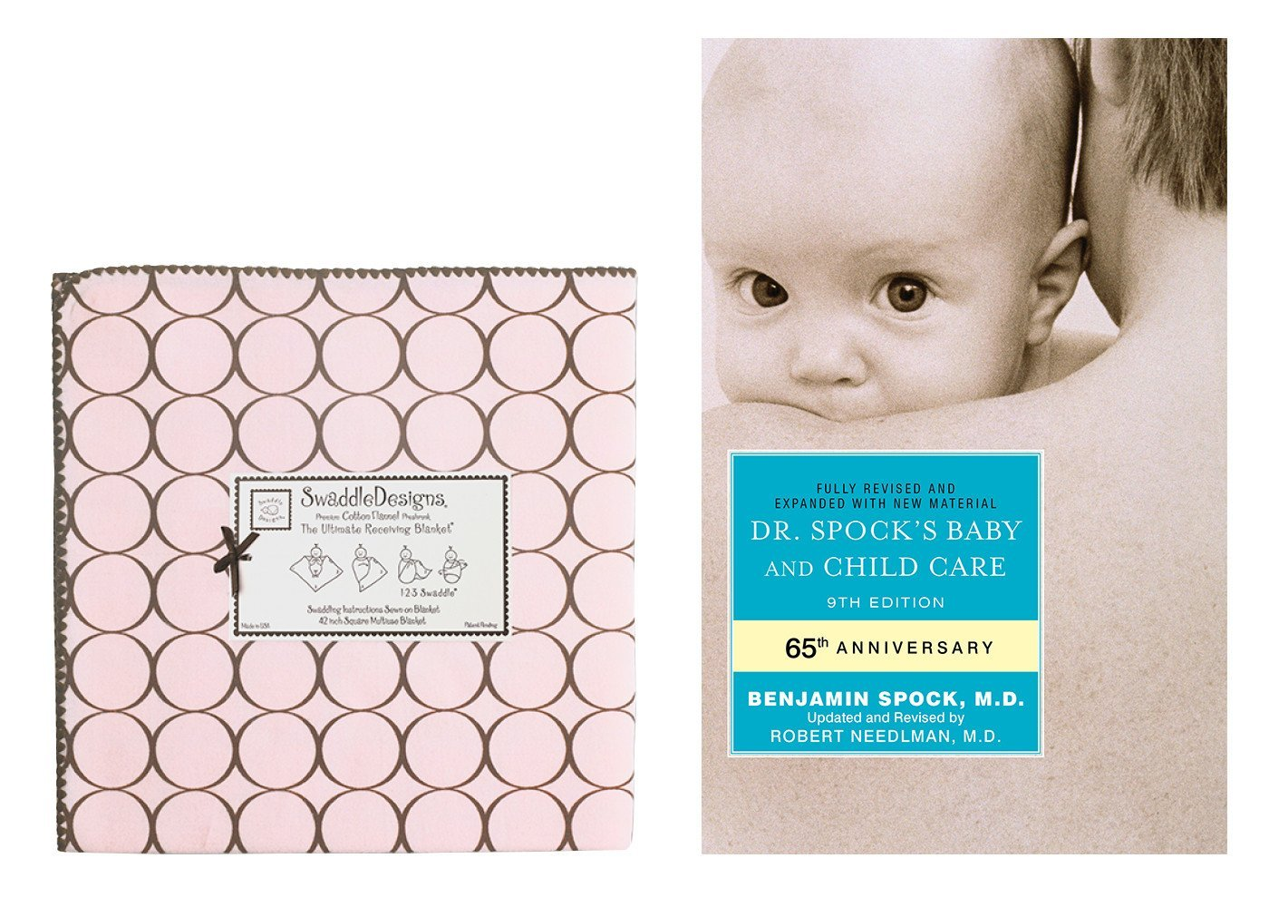 SwaddleDesigns Ultimate Receiving Blanket with Dr. Spock's Baby & Child Care Guide, Brown Mod Circles   Pastel... by SwaddleDesigns