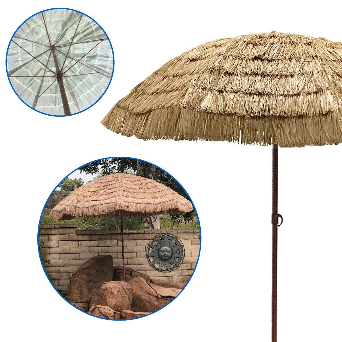 EasyGo - 9.5' Thatch Patio Tiki Umbrella – Tropical Palapa Raffia Tiki Hut Hawaiian Hula Beach Umbrella