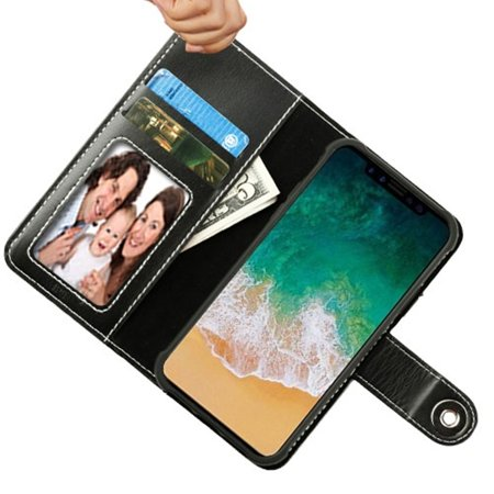 """Insten Detachable Magnetic Folio Flip Leather Wallet Flap Pouch Case Cover for Apple iPhone X XS edition 5.8"""" (2017) - Black - image 3 of 4"""
