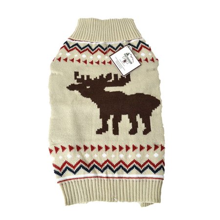 Fake Dog Tail (Outdoor Dog Moose Sweater Cream - Large - (Fits 19