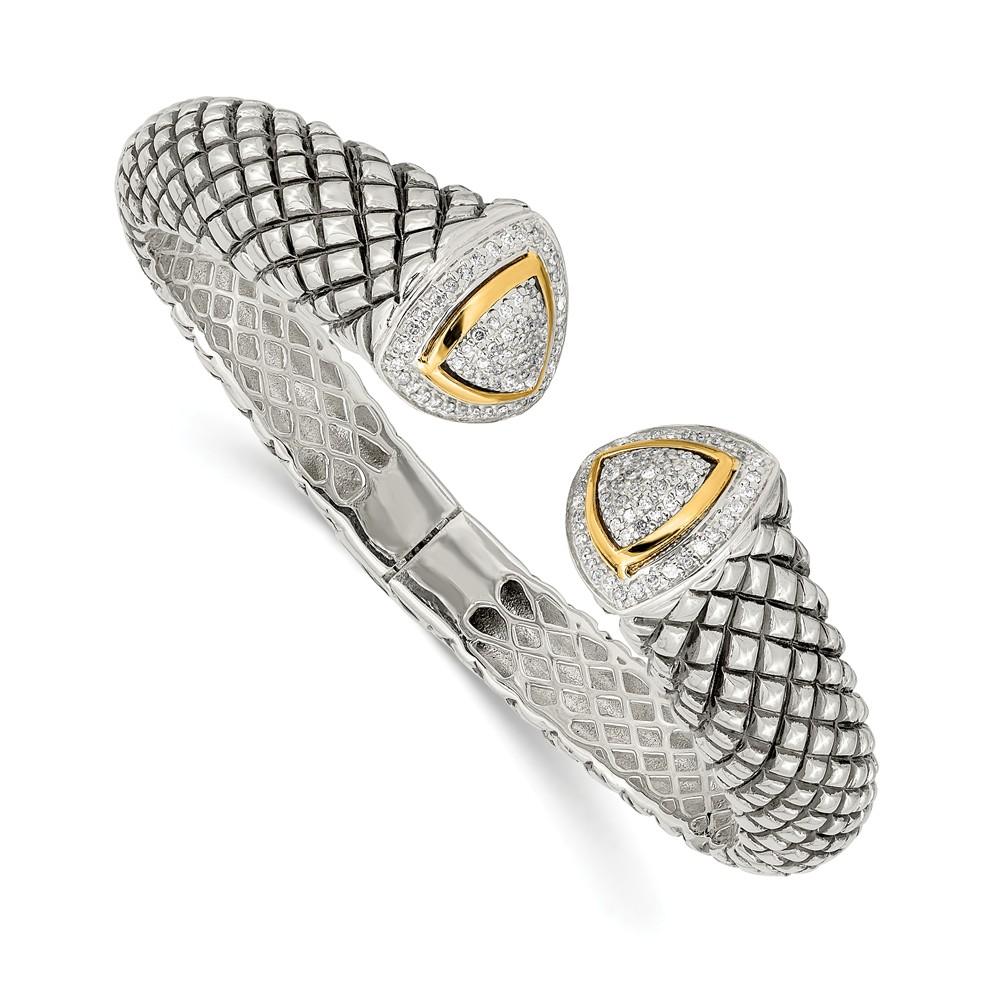Sterling Silver w/ 14K Gold 1/2ct. Diamond Hinged Cuff Vintage Style Bracelet