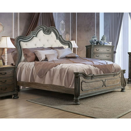 California King Size Bed Traditional Bedroom Furniture Natural Rustic Finish Intricate Wood Carvinh Tufted Fabric Hb Fb Bedframe