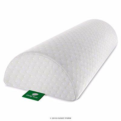 back pain relief half-moon bolster / wedge - provides best support for sleeping on side or back - memory foam semi-roll pillow with washable organic cotton cover (large,