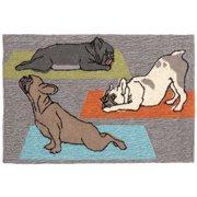 Trans-Ocean Rug Frontporch Yoga Dogs Grey Indoor/Outdoor Area Rug