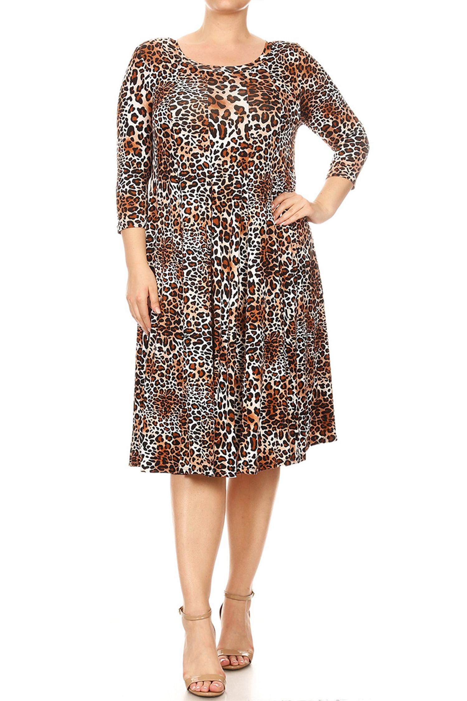 Women's Plus Size Animal Pattern Dress