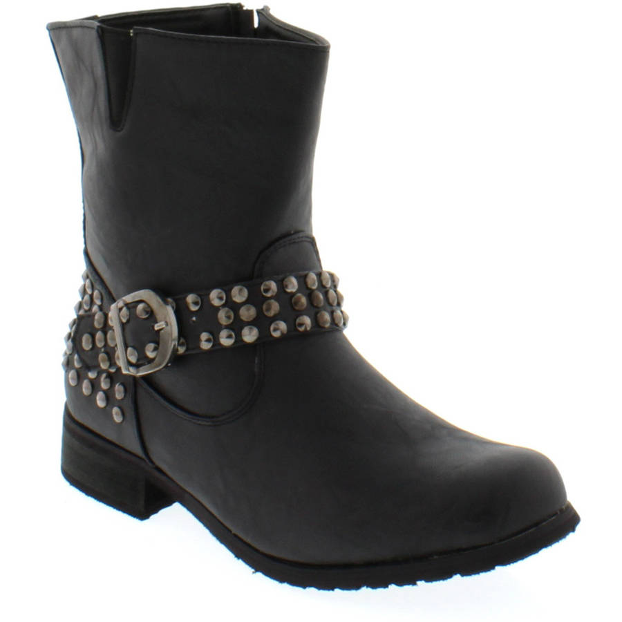Shoes of Soul Women's One Buckle Studed Boots