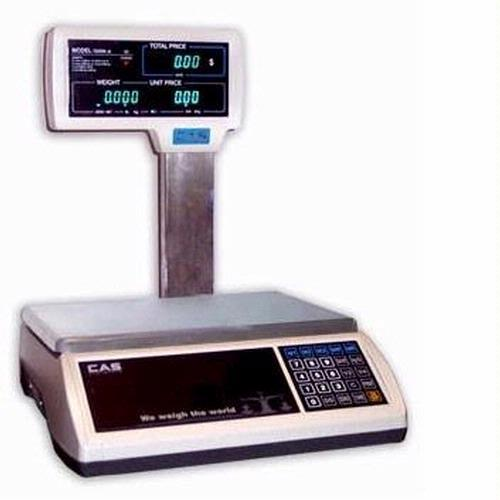 S-2000 Jr Price Computing Scale with VFD/Pole Display 60 lbs - CAS - S-2000 Jr VFD/Pole 60