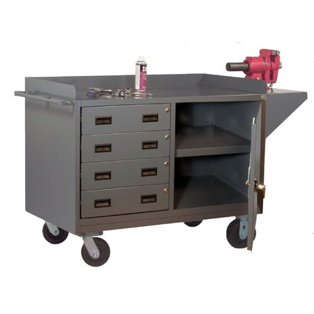Mobile Drawer Bench - Durham MFG 3401-95 Mobile Bench Cabinet, steel top, 1 door, 1 shelf, 4 drawers