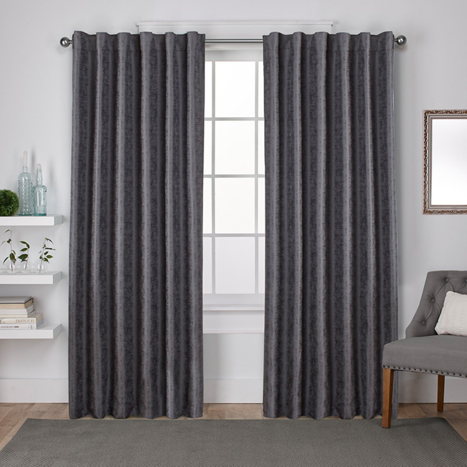 Exclusive Home Zeus Solid Textured Jacquard Blackout Window Curtain Panel Pair with Back Tab Top