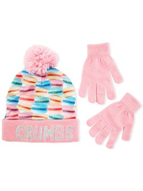Cuffed Beanie Hat and gloves Cold Weather Set, Little Girls, Age 4-7