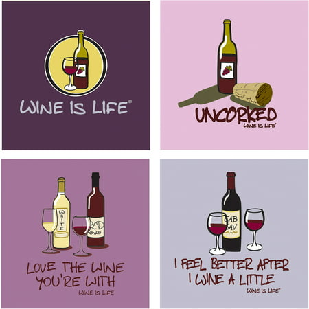 Thirstystone Occasions Drink Coasters, Set, Wine is Life (Signature Wine Coaster)