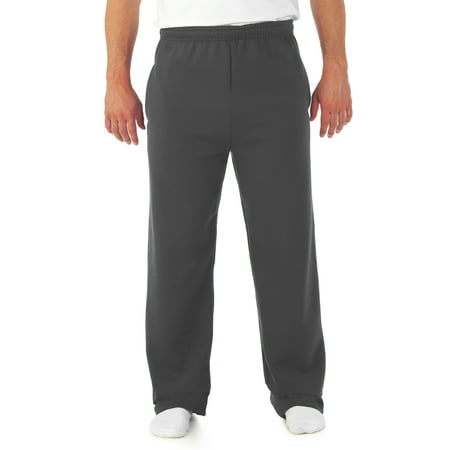 Men's Soft Medium-Weight Fleece Open Bottom Sweatpants, with -