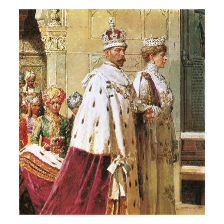 King George V in Procession with Queen Mary During the 1911 Durbar Print Wall Art By Fortunino (30 Seconds To Mars Queens And Kings)