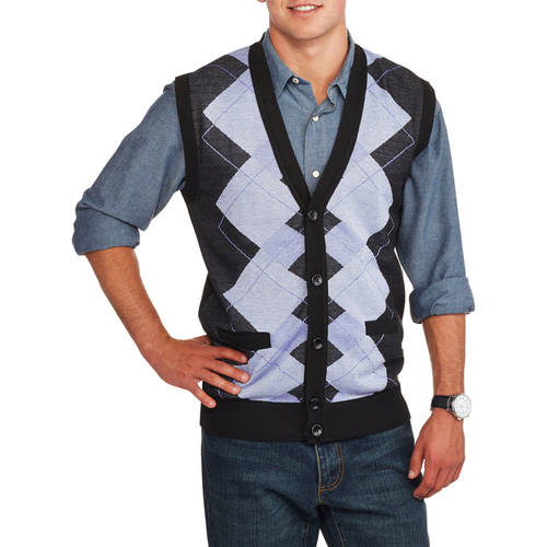 Ten West Mens Cardigan Pocket Argyle Sweater Vest