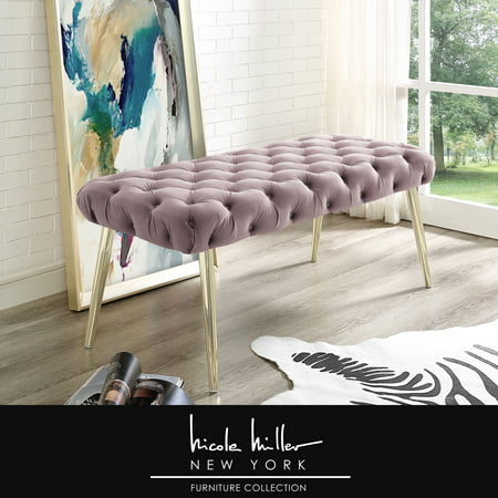 Nicole Miller Asinine Lilac Velvet Bench - Diamond Button Tufted | Gold Metal Round Tapered Legs | Luxury ()