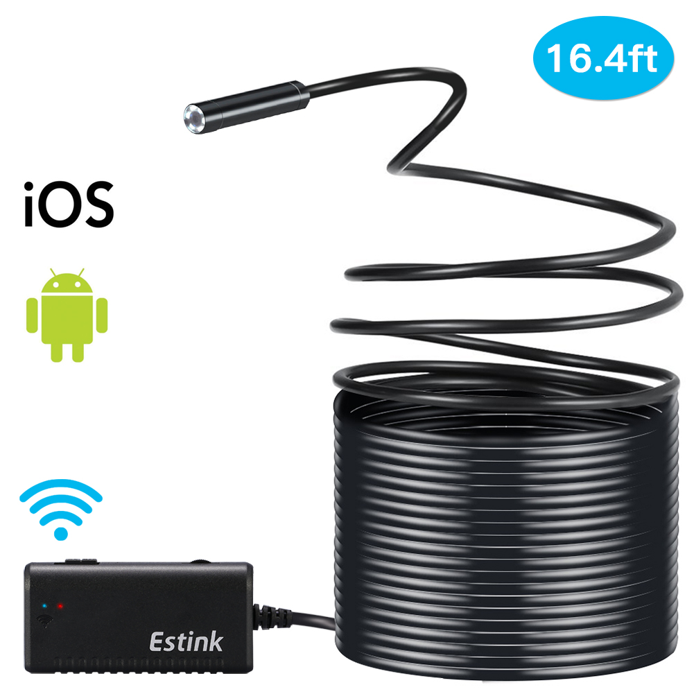 Filfeel 5M Rigid Flexible Wifi Endoscope Borescope Camera 2.0 IP66 Waterproof Snake Inspection Cam, surpassed the traditional wired inspection camera