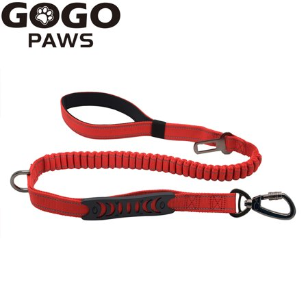 GOGO 2 in 1 Dog Cat Pet Leash Car Seat Belt Buckle Safety Leads Vehicle Seatbelt Harness with Elastic Nylon Bungee Buffer, 2 Handles for Small Medium Large Dog Breed-Red