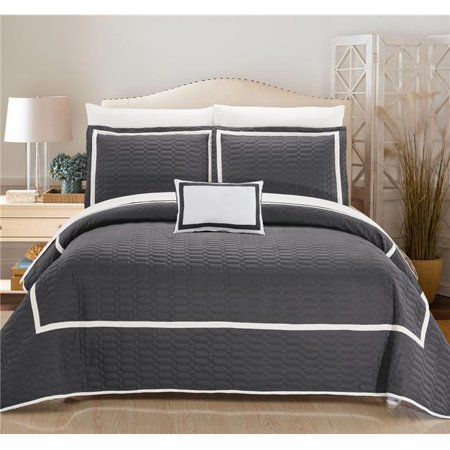 - Chic Home QS4696-US 6 Piece Noelle Hotel Collection 2 Tone Banded Quilted in a Bag Twin Quilt Set, Grey