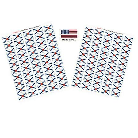 "Made in USA! 100 Nova Scotia 1.5"" x 1"" Self Adhesive Flag Stickers, Two Sheets of 50, 100 Nova Scotia Sticker Flags Total"