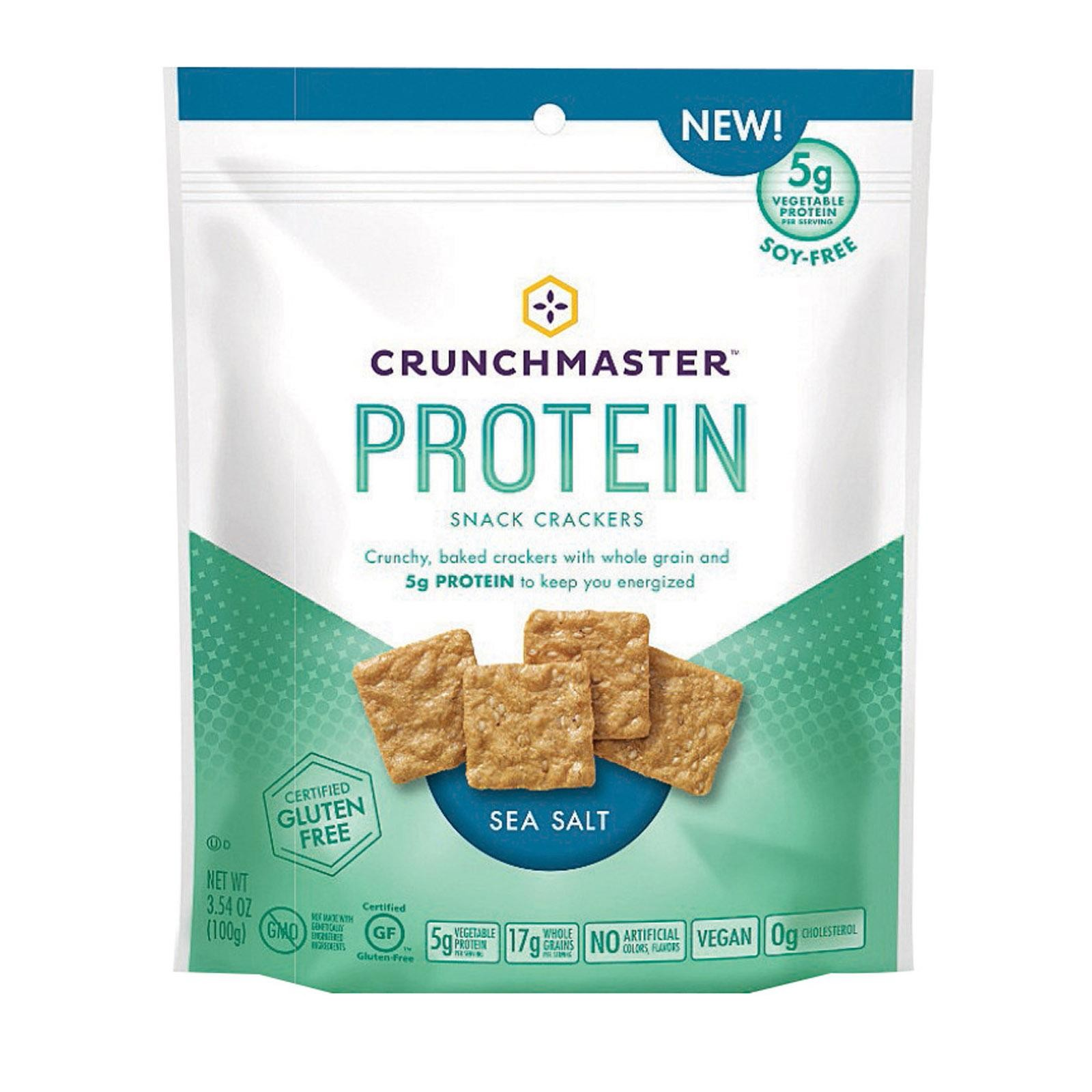 Crunchmaster Protein Crackers - Sea Salt - pack of 12 - 3.54 Oz
