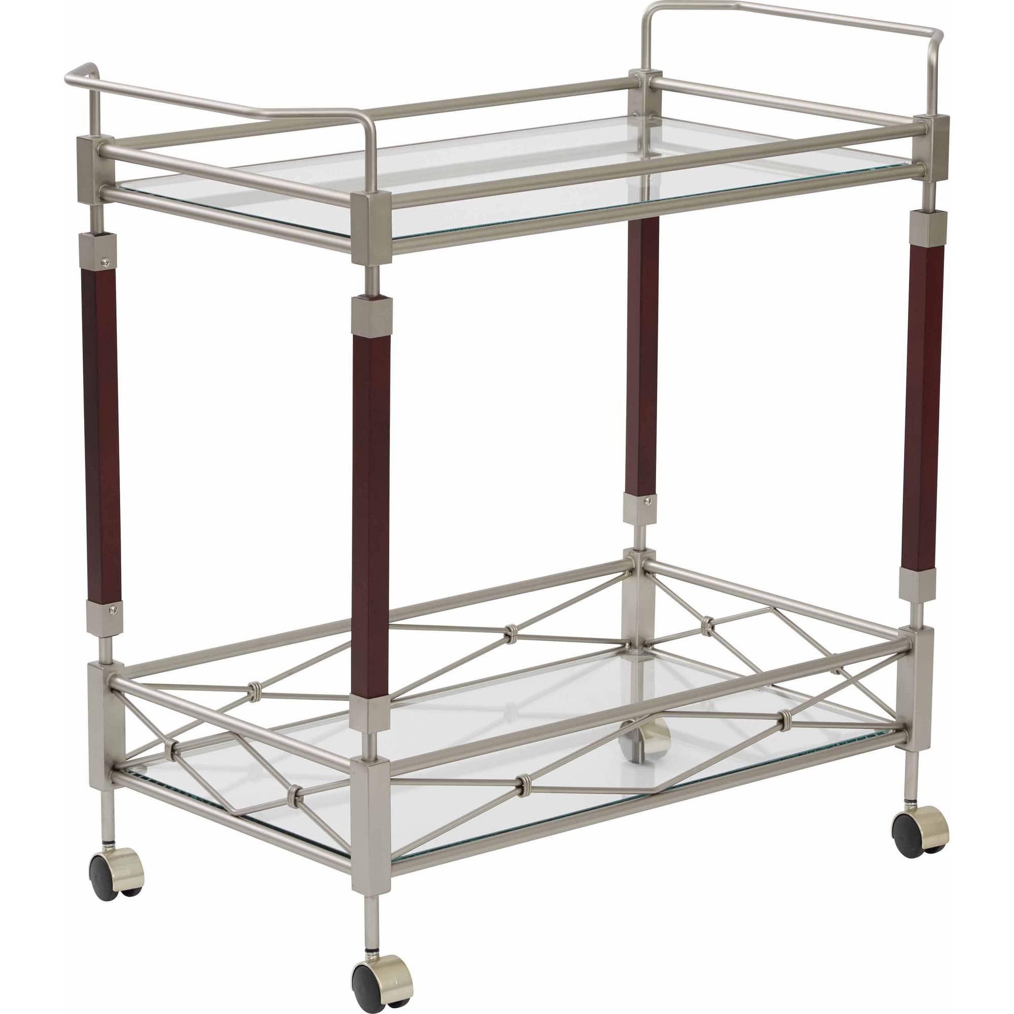 Kitchen cart metal - Office Star Melrose Serving Cart Nickel Brush Metal Frame Walmart Com