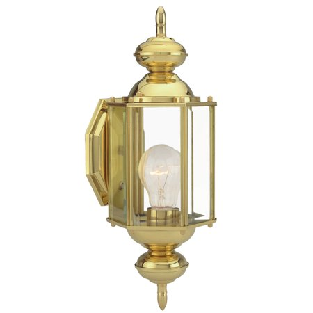 Design House 501692 Augusta 1-Light Indoor/Outdoor Wall Light, Solid Brass Brass Coach Lights