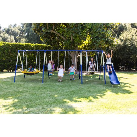 Sportspower Outdoor Super 8 Fun Metal Swing and Slide Set–Walmart-Cash Back