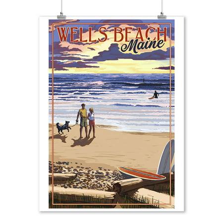- Wells Beach, Maine - Beach Scene & Surfers Walk at Sunset (9x12 Art Print, Wall Decor Travel Poster)