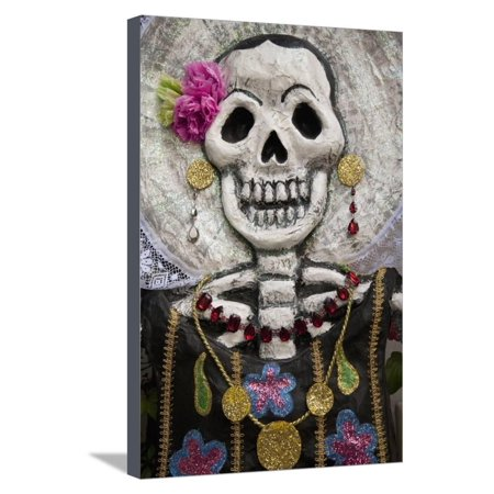 Day of the Dead Skeleton Art, Oaxaca, Mexico Stretched Canvas Print Wall Art By John and Lisa (Day Of The Dead Artwork For Sale)