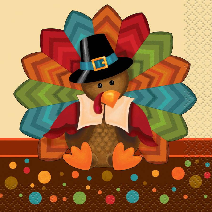 Cute Turkey Thanksgiving Paper Beverage Napkins, 5 in, 16ct