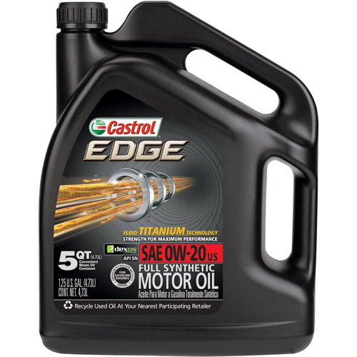 Castrol Edge Syntec Full Synthetic 0W-20 Motor Oil, 5 Quart