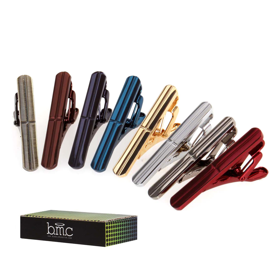 BMC 8pc Mens Fashion Alloy Metal 1.5 in. Metallic Colored Skinny Tie Bar Clips