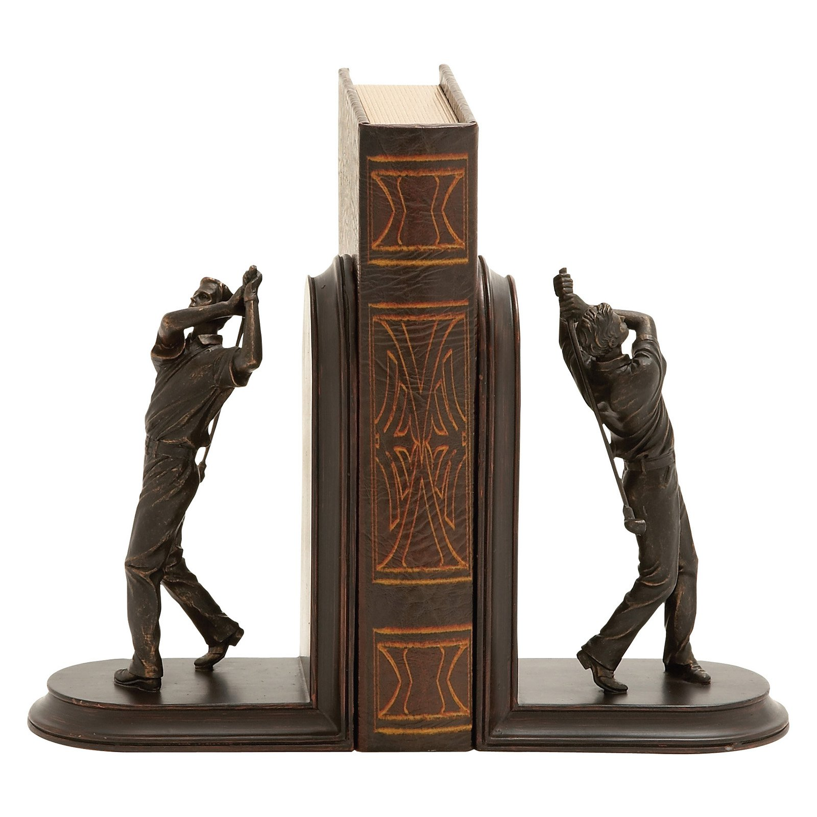 Decmode Polystone Golf Bookend Pair, Multi Color by DecMode